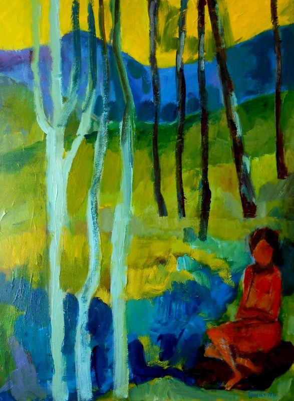 Acrílico sobre tela 80x60 by Gonçalo Monteiro. À beira de ser água, poema de Eugénio de Andrade