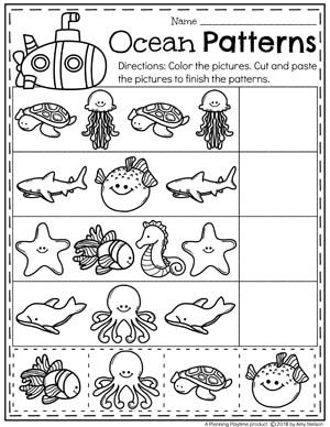 preschool ocean theme patterns worksheet preschool oceantheme preschoolactivities. Black Bedroom Furniture Sets. Home Design Ideas