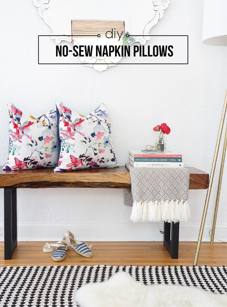 The easiest diy pillows ever no sew envelope pillows made from napkins