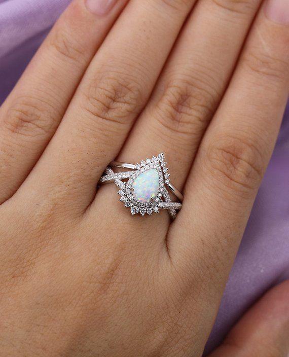 Vintage Opal Engagement Ring Set White Gold Women Unique Pear