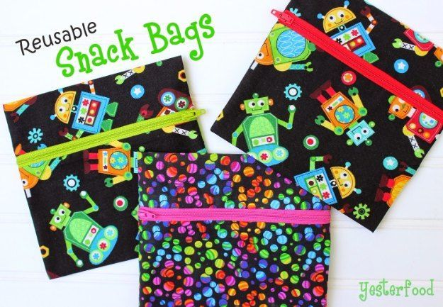 Sewing Projects for The Home - Reusable Snack Bags  -  Free DIY Sewing Patterns, Easy Ideas and Tutorials for Curtains, Upholstery, Napkins, Pillows and Decor http://diyjoy.com/sewing-projects-for-the-home