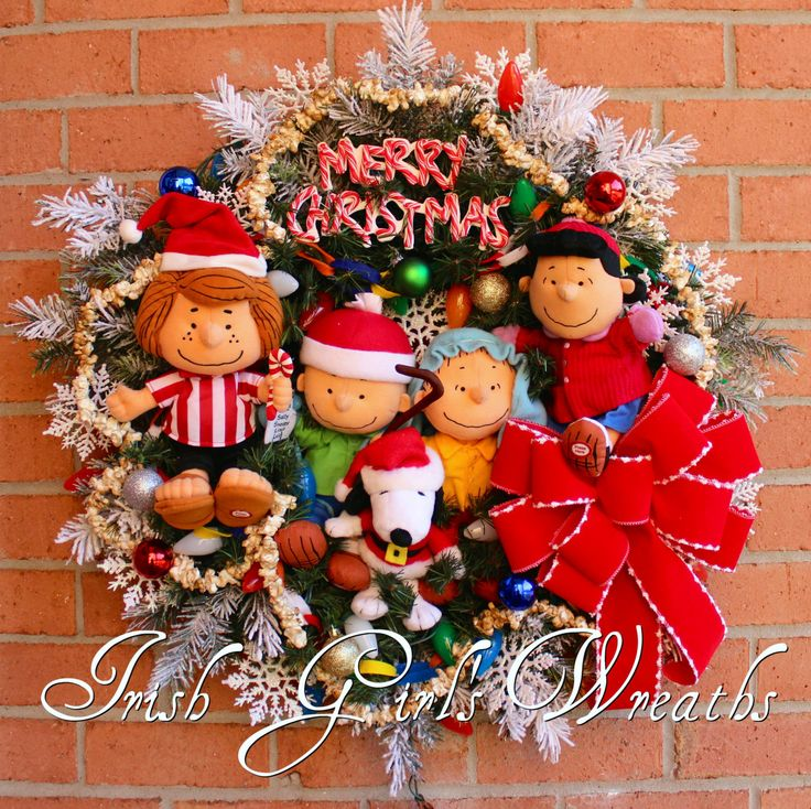 Deluxe Charlie Brown Christmas Wreath, Pre-lit Peanuts Gang Christmas Wreath, Shepherd Linus, Lucy, Santa Snoopy, Peppermint Patty, LAST ONE by IrishGirlsWreaths on Etsy