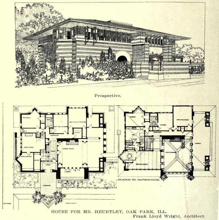 Wright's design for the Heurtley Residence, Oak Park