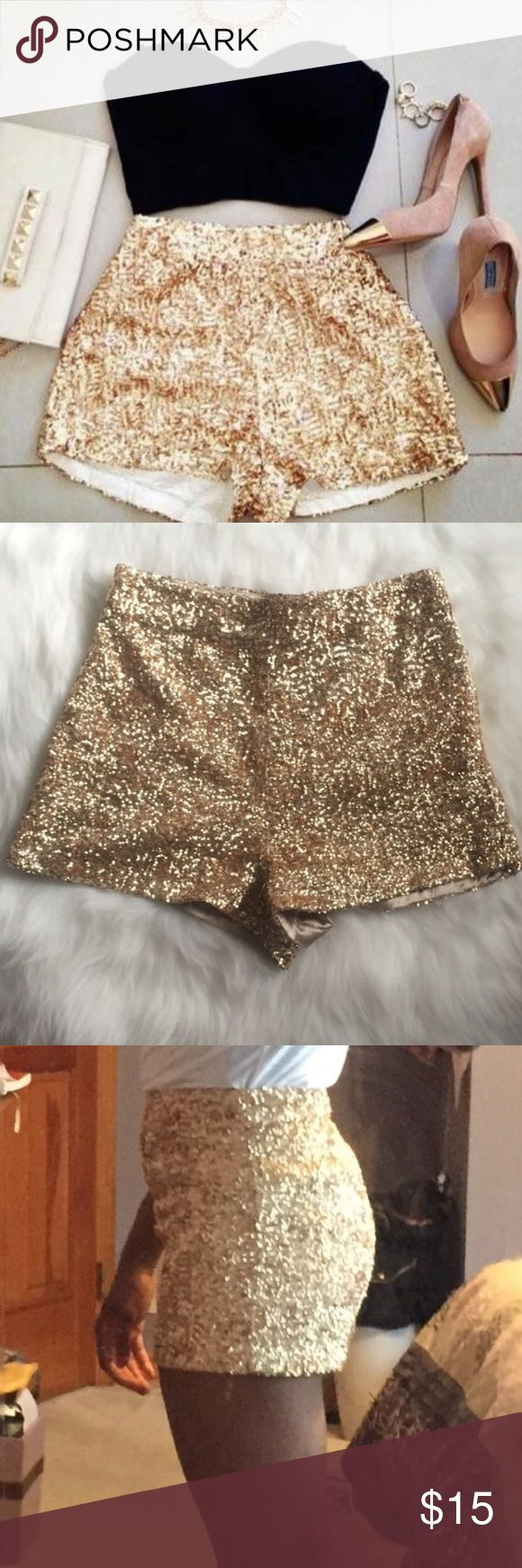 Gold Sequin Shorts Gold sequin shorts, had these for years and have never worn them out of the house. Shorts Skorts