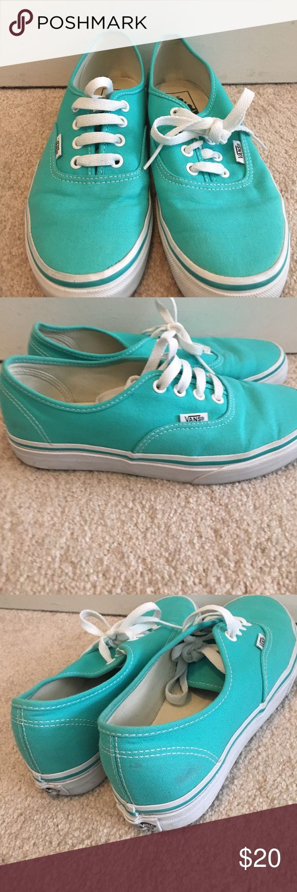 Vans Lace Up - Tiffany Blue color 🙌 Lace up vans in Tiffany blue color.  Great condition minus the mark at the back (see pic above).  Really can't notice when wearing them.  Smoke from home. Bundle and save Vans Shoes