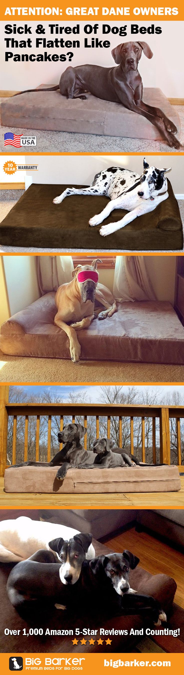 These massive Great Dane Beds are available at http://bigbarker.com