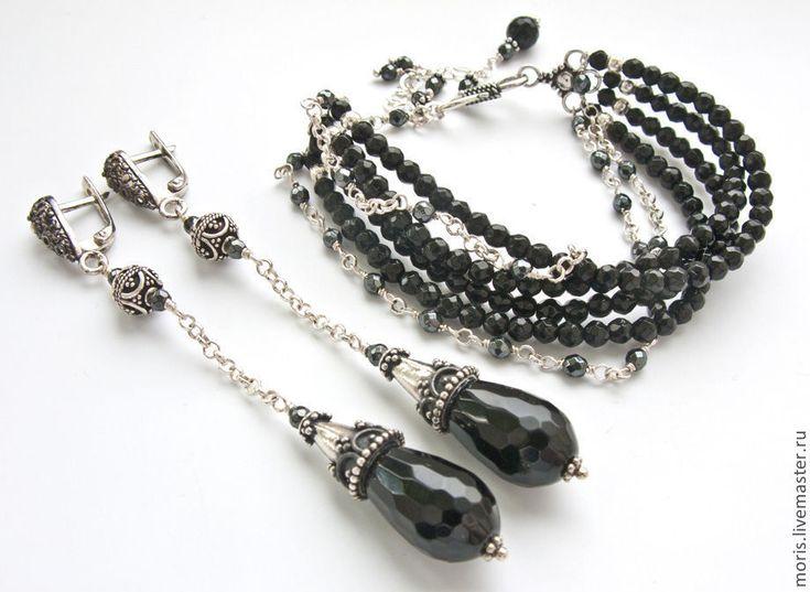 """Купить Комплект браслет и серьги из серебра """"Оделия"""" черный оникс ... - комплект из серебра"""