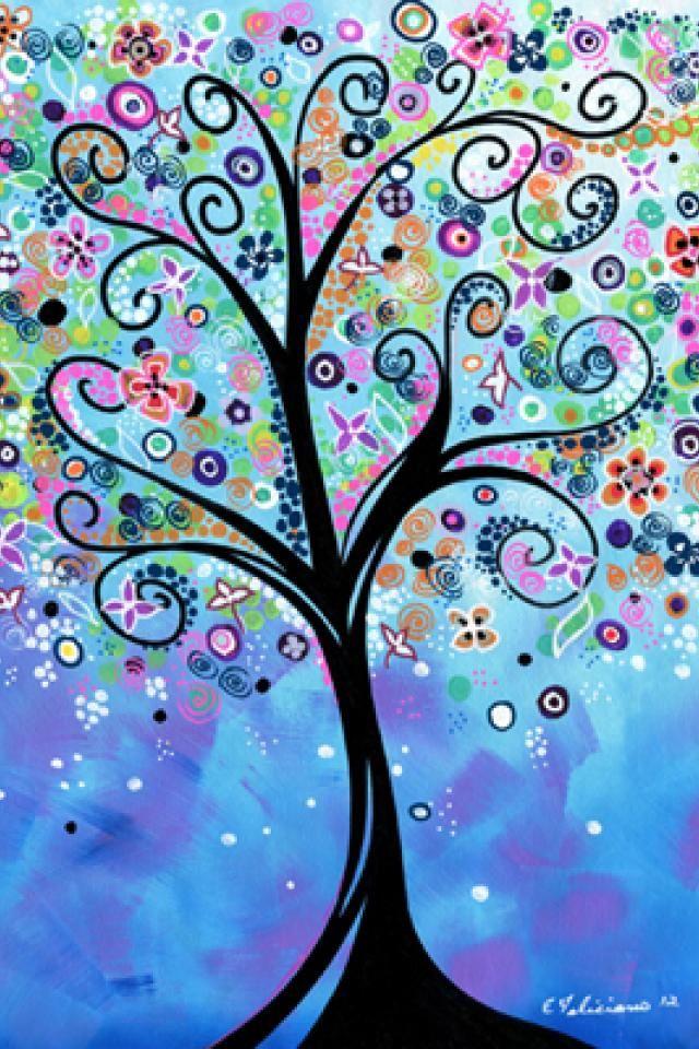 8 X 10 Art Print W 11x 14 Mat Whimsical Tree Art