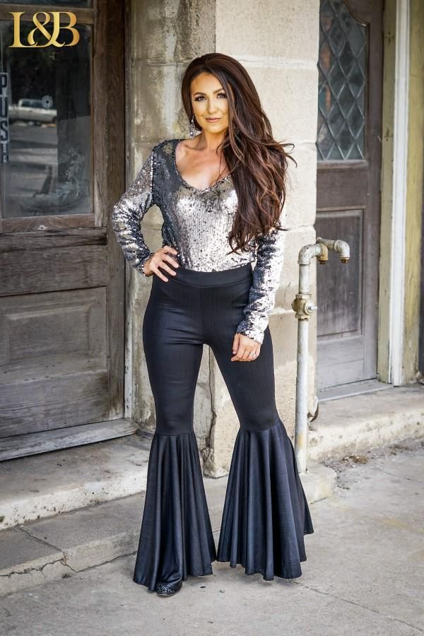 Black Metallic Elastic Waist Flare Pants Classy Cowgirl Co Bottom Clothes Bell Bottom Jeans Outfit Flare Jeans Outfit