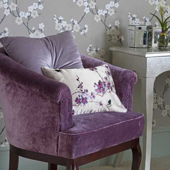 lovely lilac velvet chair - this would look awesome in a reading area-- I want this chair!!!!--it will go with my brown living room!!!