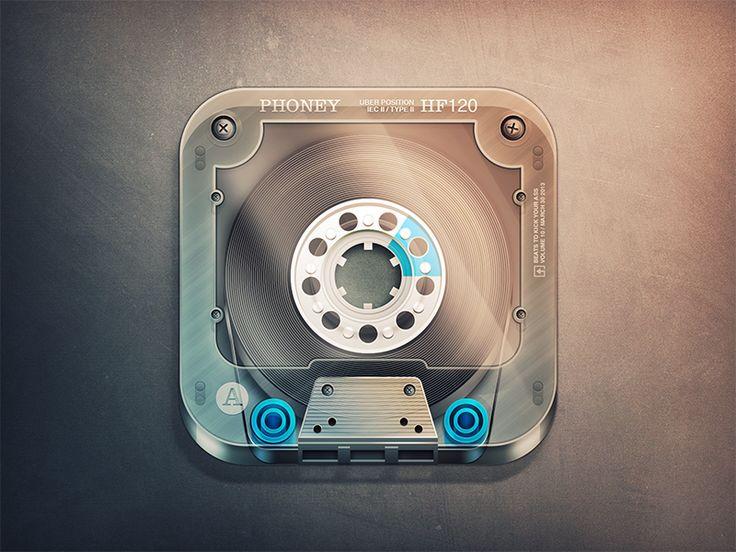 Dribbble - Cassette App Icon by Fabricio Rosa Marques