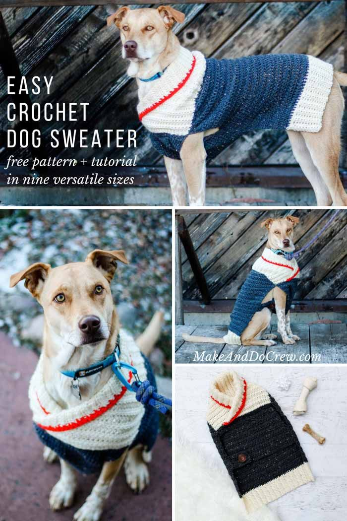 Easy Crochet Dog Sweater Free Pattern Tutorial In Nine Sizes For All Dogs Dog Sweater Crochet Pattern Dog Sweater Pattern Large Dog Sweaters