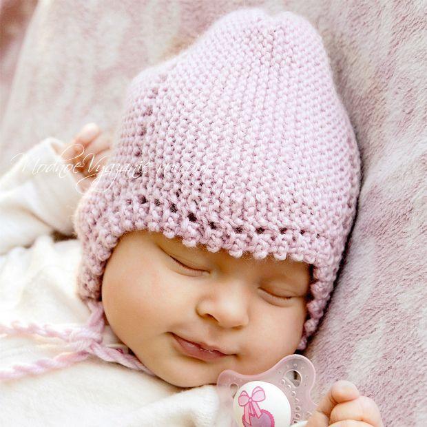 Шапочка для младенца спицами - Modnoe Vyazanie ru.com