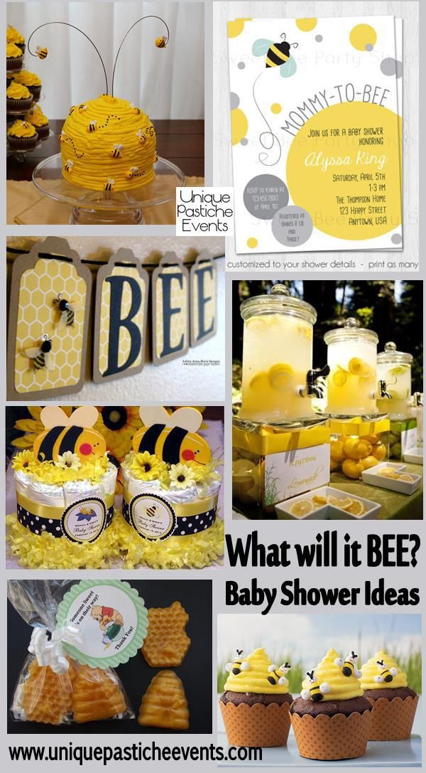 What Will It Bee? Mommy To Bee, Bride To Bee... Bee themed shower ideas! #bee #yellow
