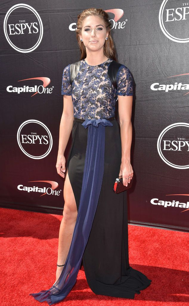 Alex Morgan from 2015 ESPY Awards Red Carpet Arrivals  It's a black and white gown with a sheer printed bodice for the soccer star.
