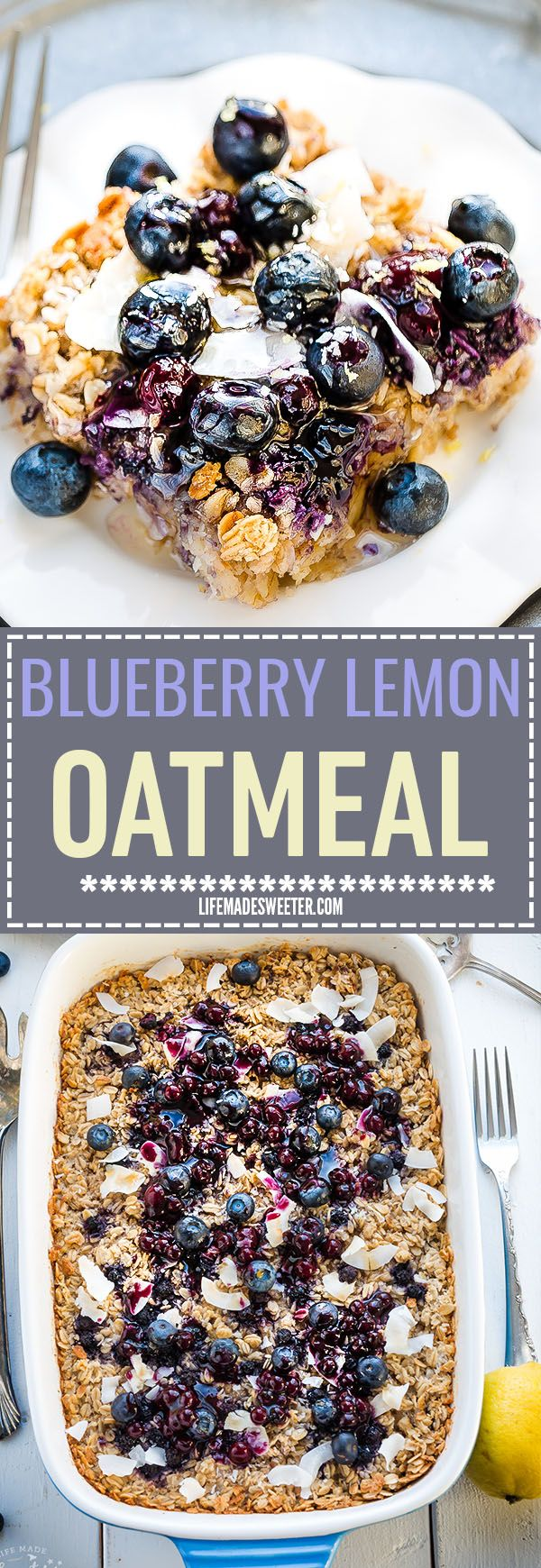Blueberry Lemon Coconut Baked Oatmeal is easy to assemble and makes the perfect healthy and hearty gluten free breakfast that tastes like dessert. Best of all, it's dairy free and made with NO butter  (Breakfast Oatmeal)