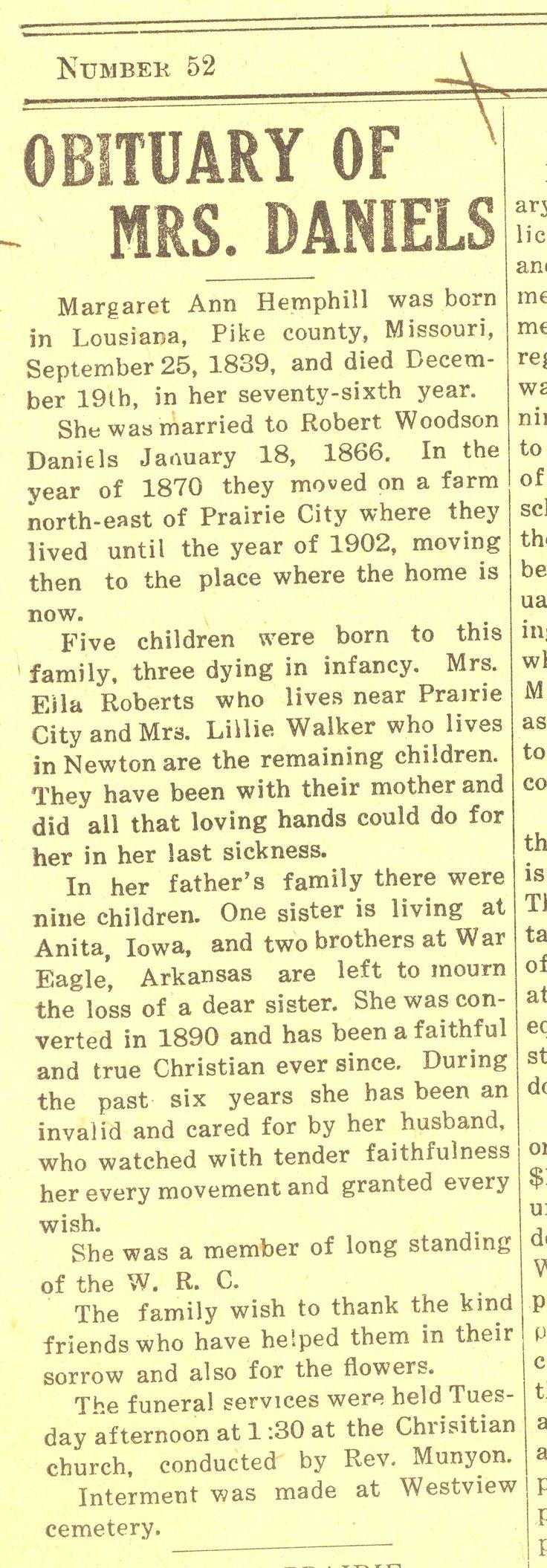 Obituary of Margaret Ann Hemphill, 23 December 1915, Prairie City News, Prairie City, Iowa, page 1. #Genealogy #Family History