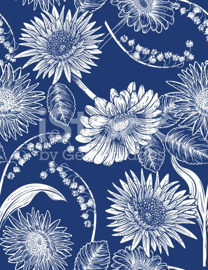 Seamless Botanical Floral Pattern Daisies and lily of The Valley royalty-free stock vector art