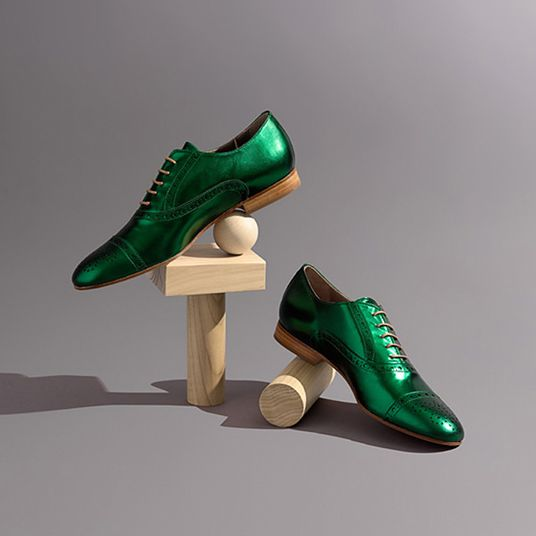 green metallic shoes by habbot