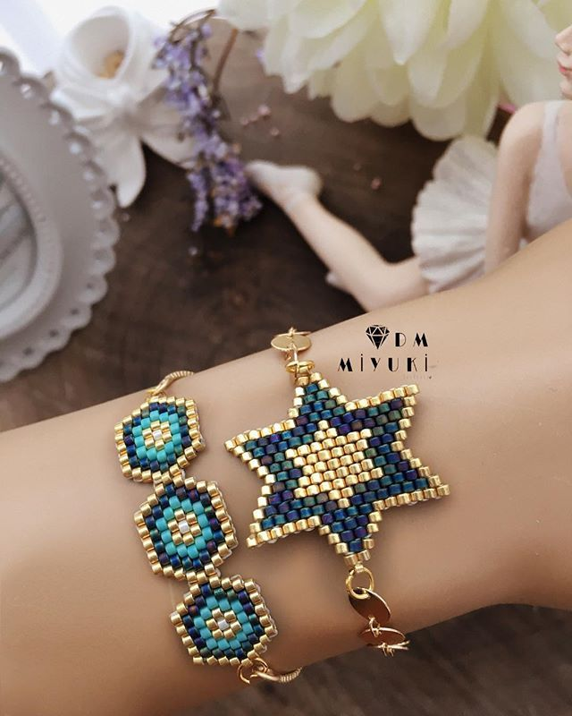 Mavi & Gold uyumu ile sevilen bir güzelik daha —————————————————— - #miyuki #design #elemeği #takı #tasarim #bileklik #elemeği #instalike #like4like #bracelet #beads #jewelry #handmade #fashion #art #tarz #şık #taki #happy #beautiful #star #colors #gold #instagood #instadaily #photooftheday #love #instalike #instalove #accessories #aksesuar #trend#elemeği