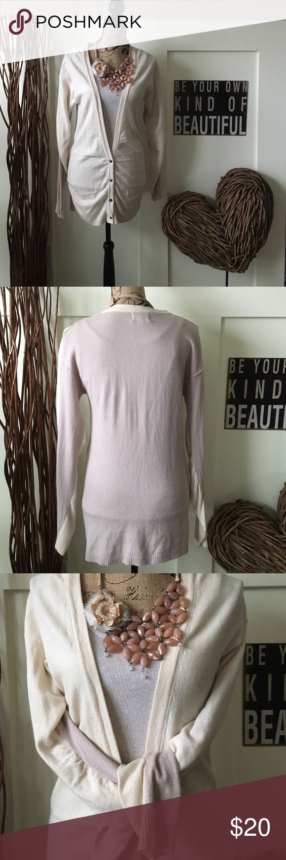 Beautiful ruched front and sleeve cardigan Pink and cream cardigan is fitted and pretty.  Snap closure and two flap pockets accent the front.  Ribbed waist and sleeves. shae Sweaters Cardigans