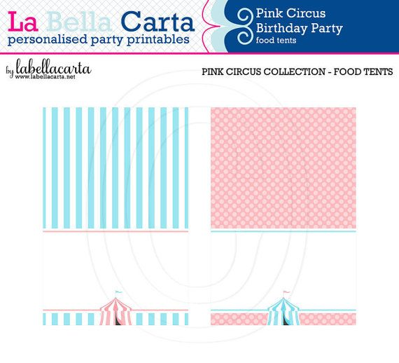 Pink Circus Printable Food Tents, Circus Party, Printable Party, DIY Party, Circus Printable, party decor, baby shower