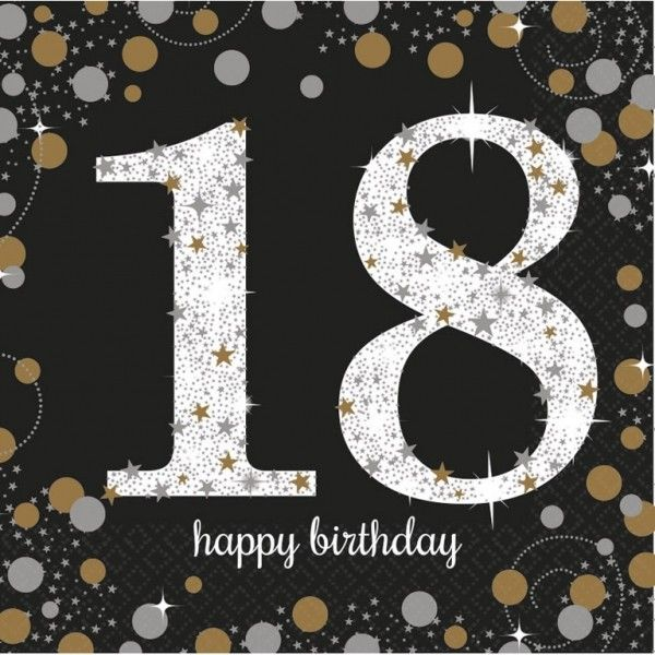 Poze 16 Servetele Majorat 18 ani Sparkling Celebrations Gold