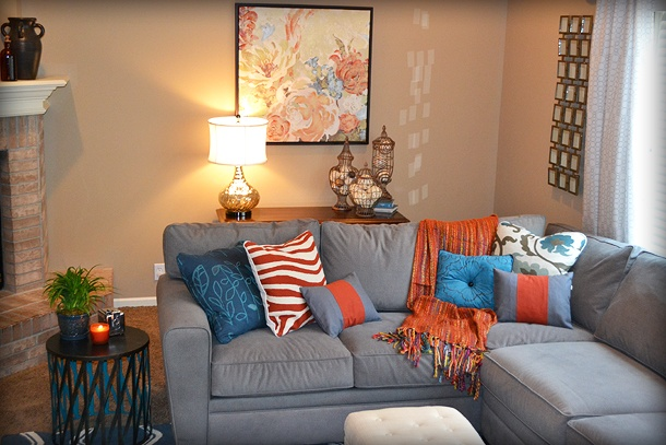 Blue orange and gray living room fluff your stuff designs pinte