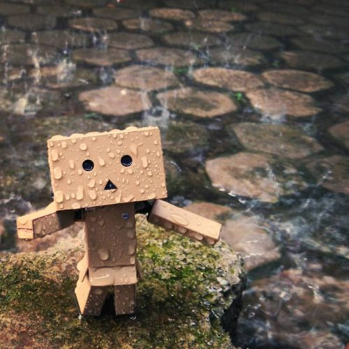 """☔ ☔ ☔ . Rainy day, huh? . """"Some people feel the rain. Others just get wet."""" — B. Marley . . #danbo #danboard #rainyday #figurine #toy #toygraphy #yotsubato!"""