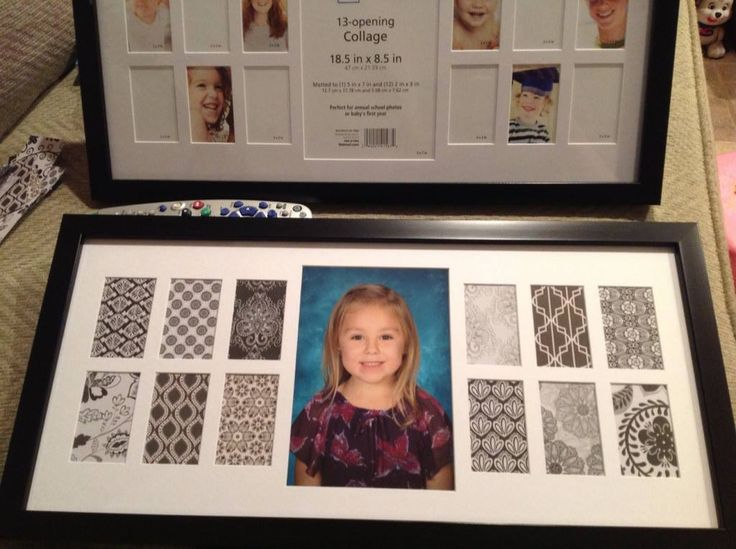 My redesigned yearly school picture frame. Found this frame for $10 at Walmart but it looked really crappy when I took the paper out so I found cool scrapbook paper to add behind the blank spots since the frame won't be filled for 12 years! I think it turned out pretty good!