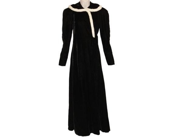 Vintage Black Velvet Coat with White Fur Trim - Edwardian to Art Deco - circa 1920s to 1930s Downton Abbey Style!