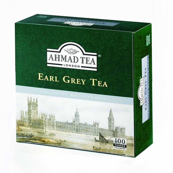 Ahmad Tea London Earl Grey Tea box of teabags... artwork of Westminster Parliament on River Thames in London on green rectangular box, c. 2000s, UK
