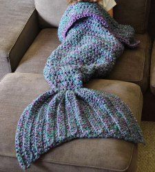 Chic Knitted Fishtail Blanket For Women (BLUE,ONE SIZE(FIT SIZE XS TO M))   Sammydress.com Mobile