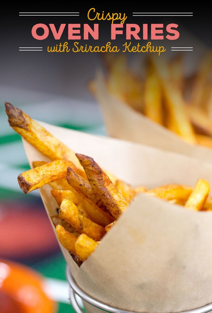 No messing around with hot oil for this recipe: bake fries in the oven for a healthier snack option. | Crispy Spiced Oven Fries with Sriracha Ketchup