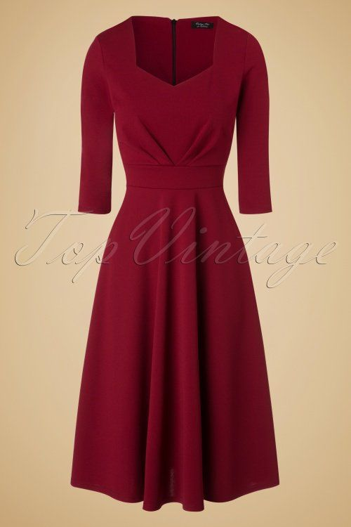 Vintage Chic Scuba Crepe Sweetheart Neckline Wine Red Dress 102 20 19596 20161026 0005w