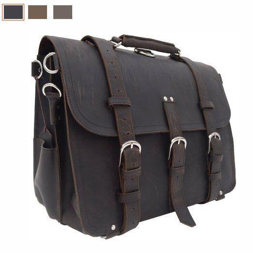 P.KU.VDSL® - Sacs bandoulière / Vintage Mallette / Pour Homme en Cuir Véritable sac d'ordinateur portable sac de messager / sac à dos / porte-documents 42 x 23 x 30,5 cm (Brun-Noir): Amazon.fr: Bagages