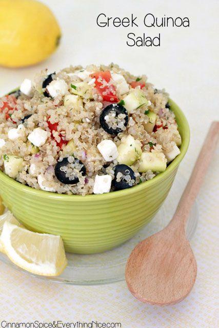 Greek Quinoa Salad - 1c uncooked quinoa / 1c diced tomatoes / 1c diced cucumber / 1c feta cheese / 1/2 c sliced kalamata olives or 3/4 c sliced black olives / 1/4 c diced red onion / 1t chopped mint / 1t chopped parsley / 1t fresh dill / juice of 2 lemons (3-4 tb) / 2 tb olive oil / salt & pepper to taste