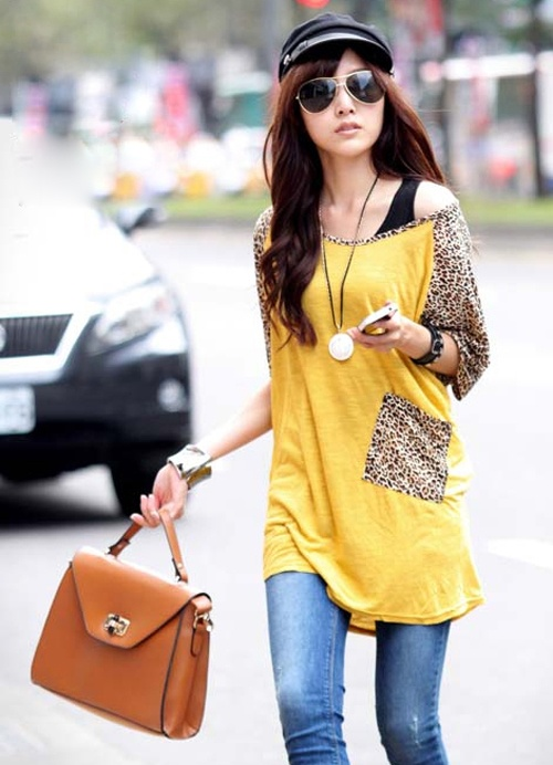 Durable Leopard Bat-Wing Sleeve T-Shirts Yellow
