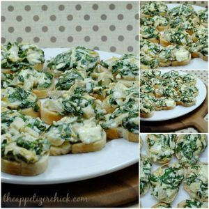 This spinach artichoke bruschetta recipe will quickly become one of your favourite appetizers. They are garlicky goodness on a crostini!