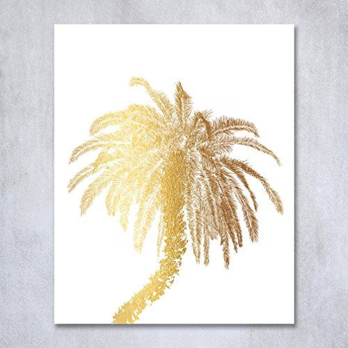 Palm Tree Gold Foil Decor Wall Art Print Island Tropical Art Metallic Poster 8 inches x 10 inches C21