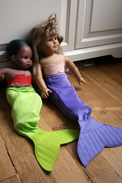 These are super easy to make and the girls love transforming various stuffed animals into mermaids!  Mer-dinosaur, mer-horse, mer-lion, mer-dog....