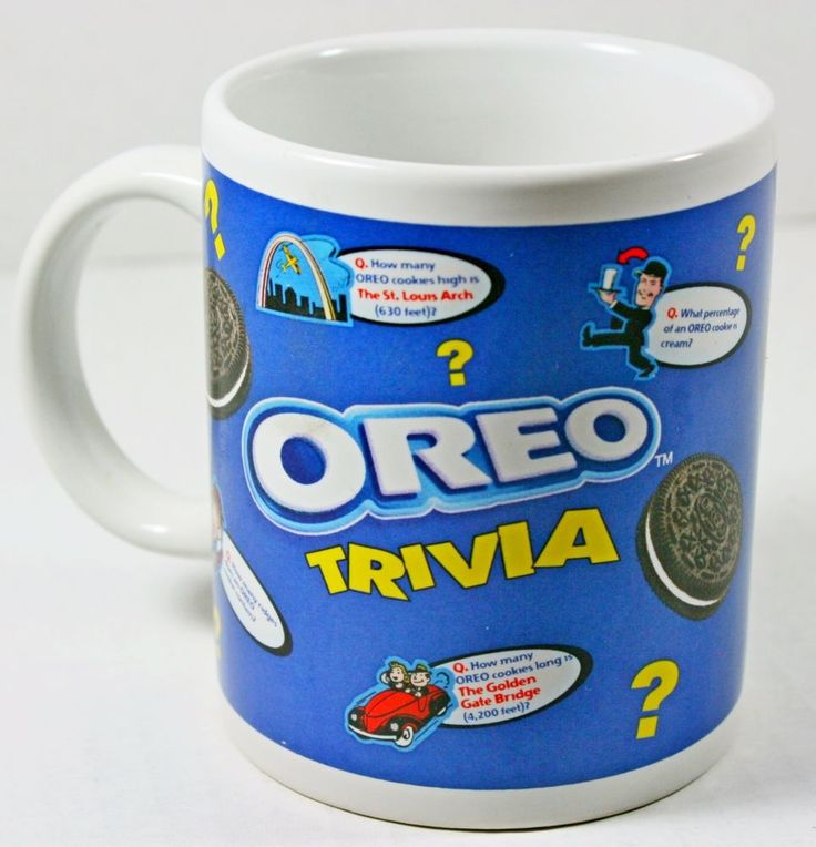 OREO Trivia Nabisco Brands Cookies Tea Coffee Cocoa Collectible Mug Cup 12 oz #Nabisco