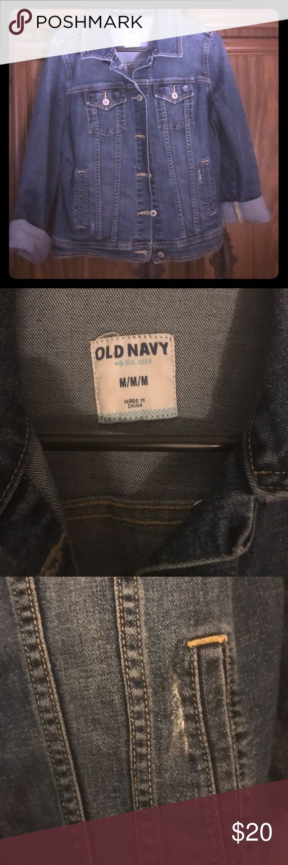 Medium Old Navy Jean Jacket This is a great used condition Old Navy Jean jacket - the jacket has intentional wearing as pictured in pics 3 & 4. This is a STEAL and perfect for fall. Old Navy Jackets & Coats Jean Jackets