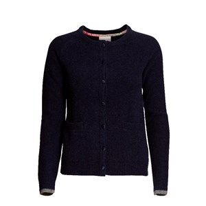 SUPERSOFT cardigan, dark navy. The classic and usable cardigan to be worn with every outfit. Made in sustainable wool from our Italien supplier. Beautiful details with Liberty fabric on the buttons.