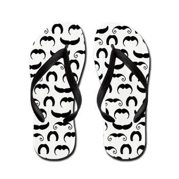 Retro Mustaches Flip Flops @Wendy Felts Felts Felts Felts Felts sims. For Kate :)