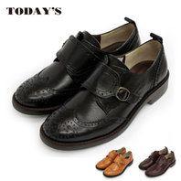 【 TODAY'S トゥデイズ 】【 送料無料 】【初回のみ交換無料】【 代引手数料無料 】モンクストラップシューズ おじ靴 (5526)本革 日本製 ナチュラル かわいい ハートビート マニッシュシューズ レディース 革靴