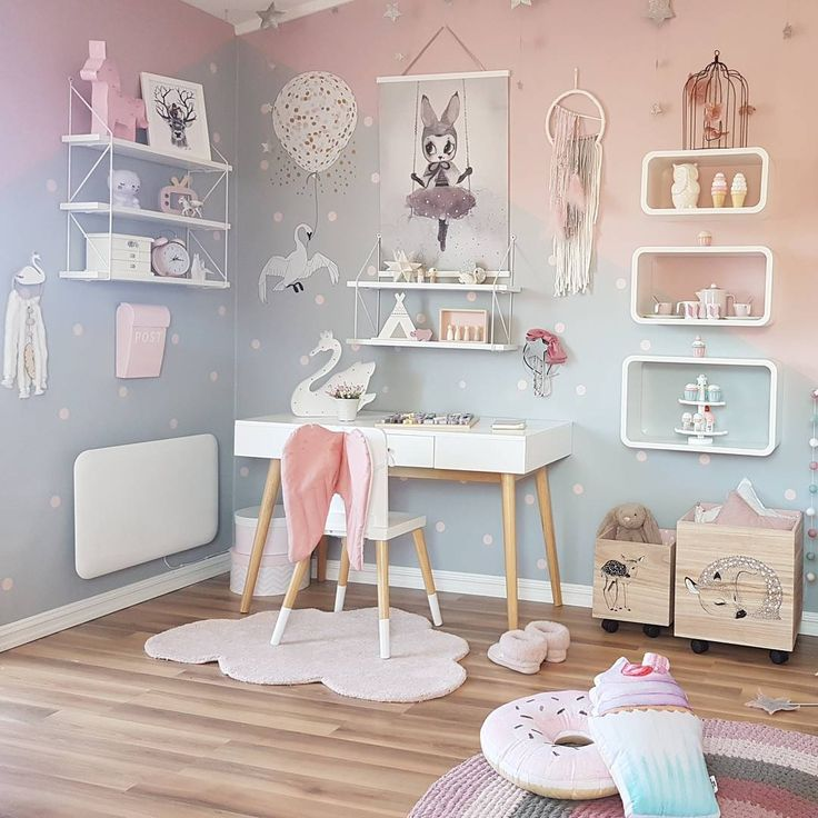 There is no right or wrong way to do pastel and we love how this gorgeous desk space doesn't hold back. There is lots of pastel, lots of magic and lots of fun in this space. And that angle wing chair? So cute! http://petitandsmall.com/prettiest-pastel-desk-spaces/