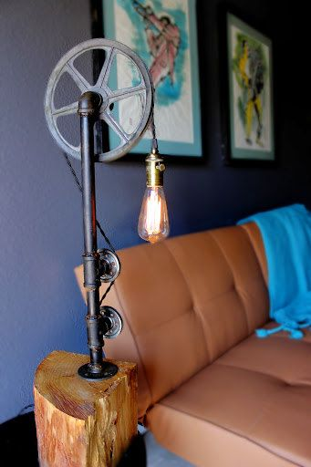 Steampunk style table lamp with pulleys and pine by ParisEnvy, $280.00