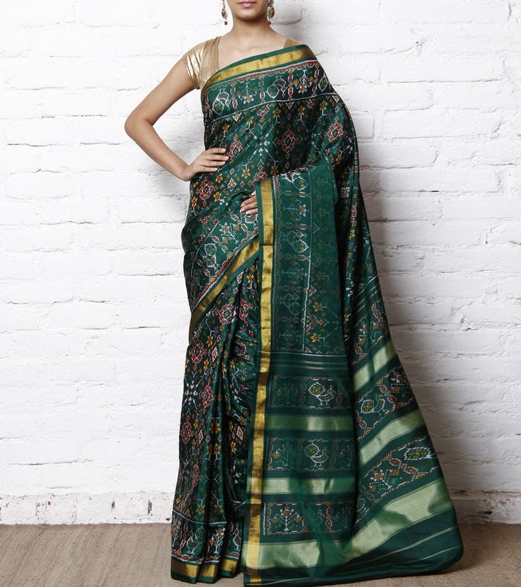 Green Handwoven Single Ikat Patola Saree Pinned by Sujayita