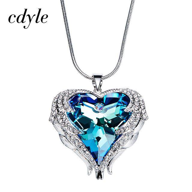 Get Promo $15.19, Buy Cdyle Crystals From Swarovski Necklaces Women Pendants Heart Shaped Blue Purple AB Luxury Fashion Jewelry Austrian Rhinestone